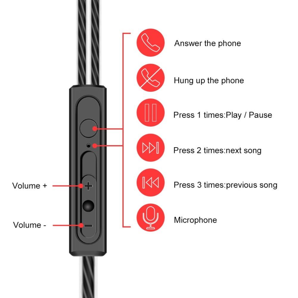 Dual Drivers Sport Earphone High Bass Dual Drive Stereo Earphones Lightweight Wired headphones 3.5mm For Xiaomi Redmi Note 5 pro