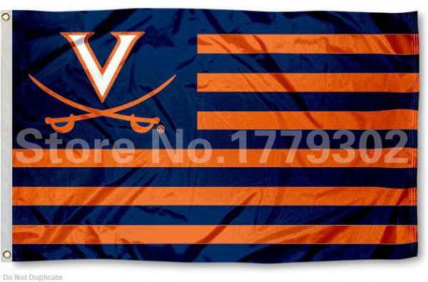 Virginia Università di Bandiera 3 'X 5' Fan bandera 150X90 CM bandera de cobre amarillo del metallo agujeros NCAA Bandiera