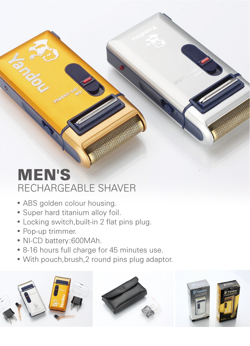 YANDOU.CE.ROHS.electric Shaver For Men Rechargeable Shaver.Silver Or Golden Colour.Hot Sale.classic Style.