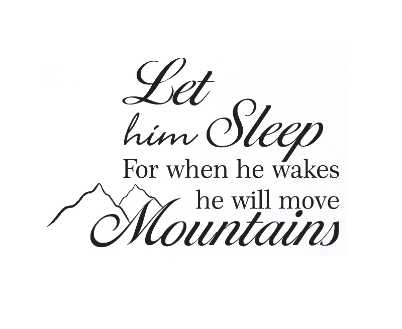 Wall Decal Sticker Quote Vinyl Let Him Sleep Baby Boy Will