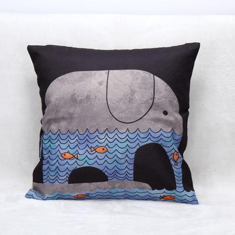Anchor Cushion Cover Cotton Linen Sea Whale Throw Pillow Cover Cushion Case Sofa Bed Decorative ...