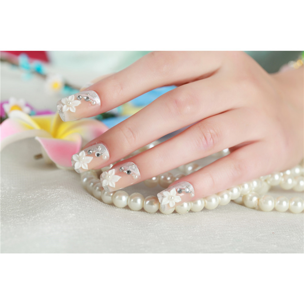 24Pcs Bride False Nails Tips with Designs Wedding Party Acrylic Nail ...