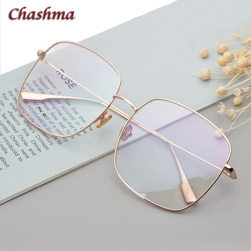 Grand cercle titane cadre femmes lunettes surdimensionné lunettes cadre pour hommes mode corée Designer lumière optique lunettes or