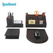 Modern Style 4pcs/set PU Leather Desk Decor Stationery Organizers Sticker Memo Case Pen Holder Mousepad T41H