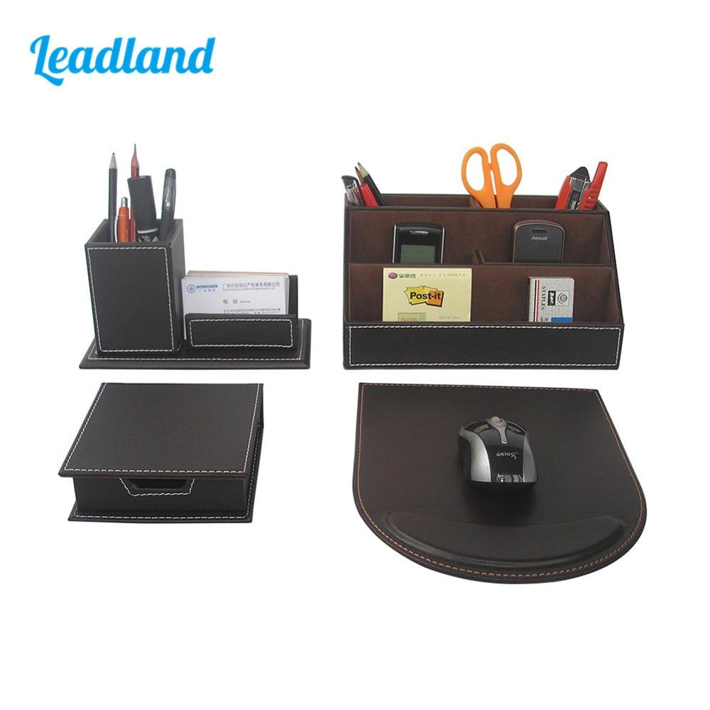 Modern Style 4pcs/set PU Leather Desk Decor Stationery Organizers Sticker Memo Case Pen Stand Pencil Holder Mousepad T41H