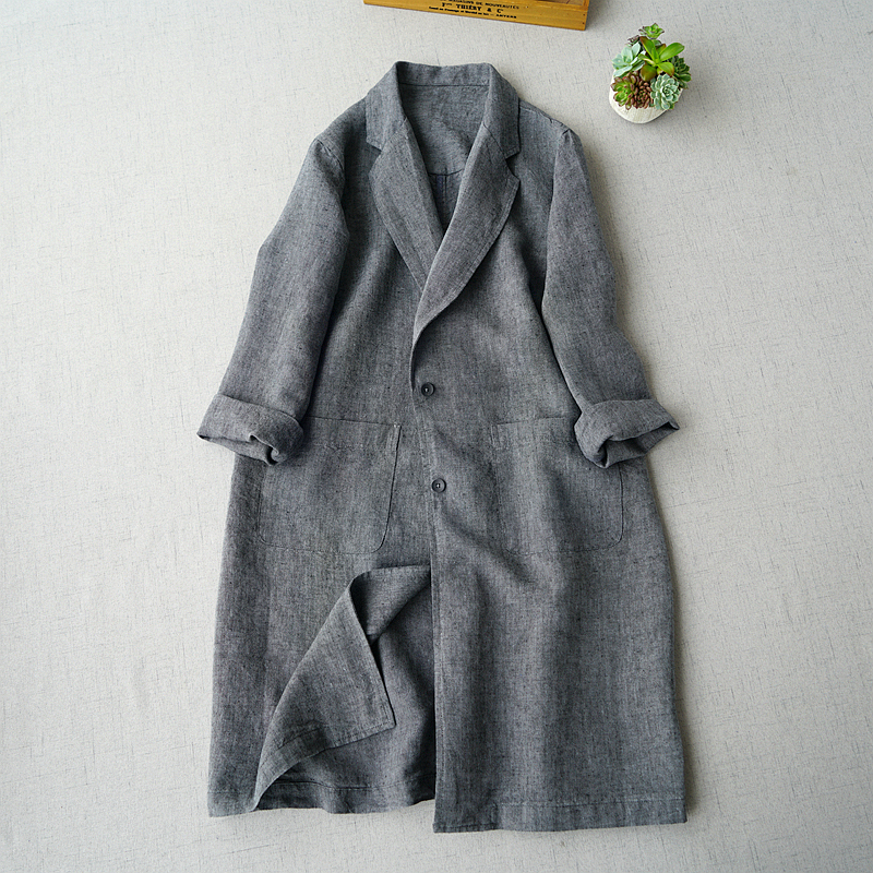 Spring Autumn Women All-match Casual Loose Plus Size Japanese Style Brief Comfortable Linen Trench Coats(China)