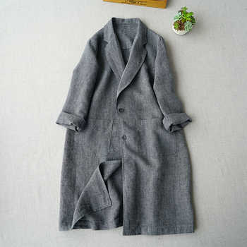 Spring Autumn Women All-match Casual Loose Plus Size Japanese Style Brief Comfortable Linen Trench Coats - DISCOUNT ITEM  20% OFF All Category