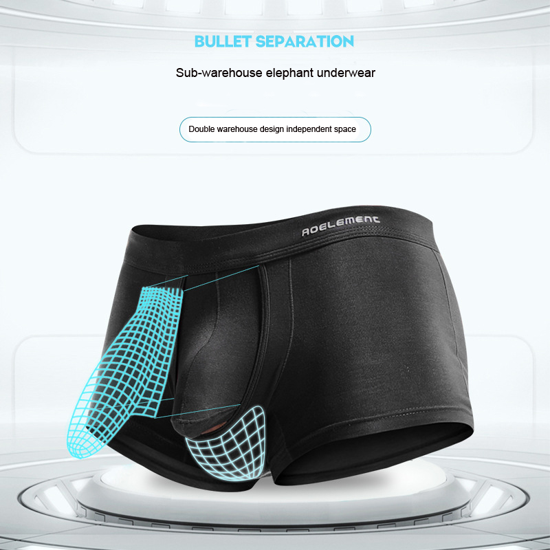 Image 3 - New Fashion Bullet Separation Underwear Function Male Scrotum Support Vein Modal Bag Varietal Men's Boxer Men's Sexy Underwear-in Boxers from Underwear & Sleepwears