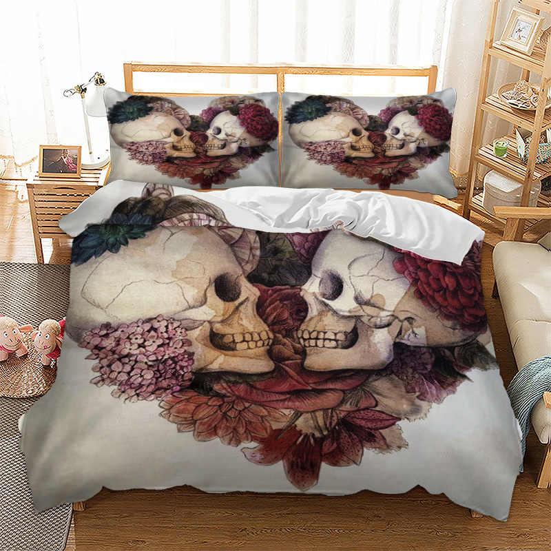 Набор постельного белья с черепами, пододеяльник, наволочки для подушек, наволочки для близнецов, размер США, размер queen King AU, супер King, Крутое постельное белье, пододеяльник, набор из 3 предметов