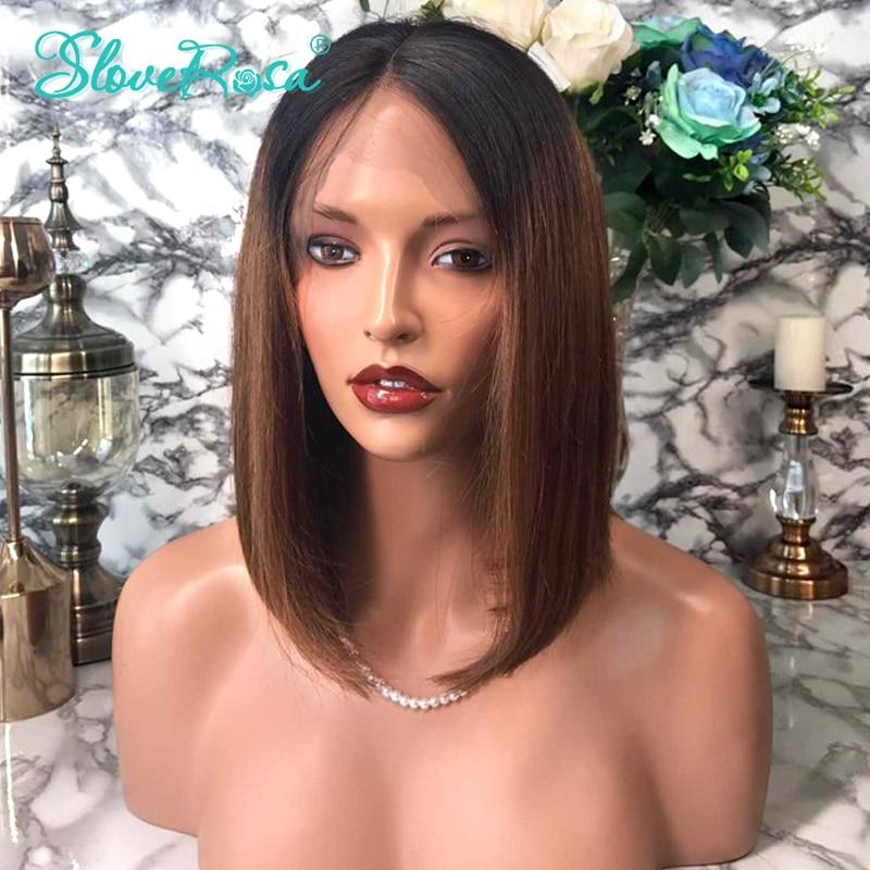 HTB1symDAZyYBuNkSnfoq6AWgVXaw 13X4 Short Bob Wigs 1B/30 130% Density Lace Front Human Hair Wigs Brazilian Remy Hair For Black Women Bleached Knots Slove Rosa