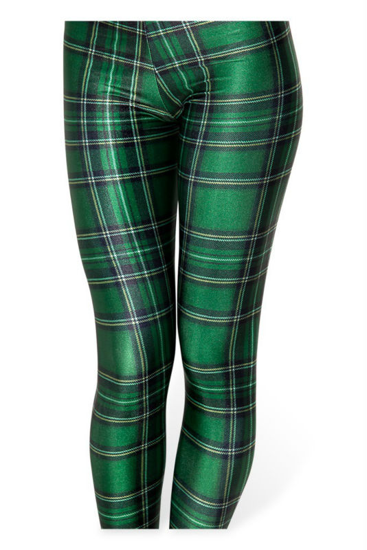 Hot Sexy 2014 new arrival fashion women clothes TARTAN GREEN 3D print galaxy fitness tights girls pencil pants super wholesale leggings
