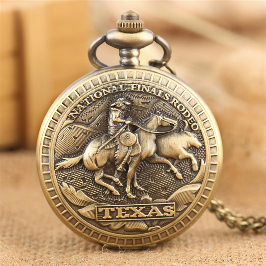 Souvenir Clock U.S. Texas National Finals Rodeo Design Quartz Pocket Watch Full Hunters Retro Necklace Watches