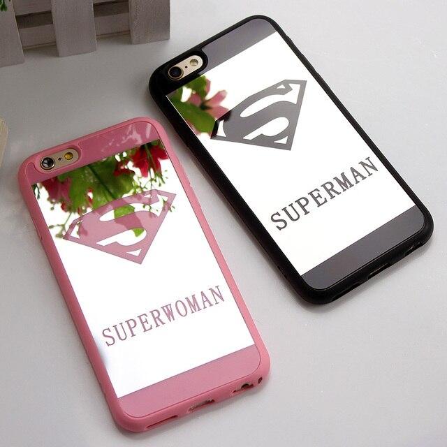 Amante espelho caso de telefone celular para o iphone 7 6 6 s plus 5 5S superman caso quadro silicone suave tampa traseira para o iphone 7 7 plus capa