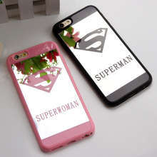 Lover Cell Phone Mirror Case For iPhone 7 6 6s Plus 5 5s Superman Case Soft