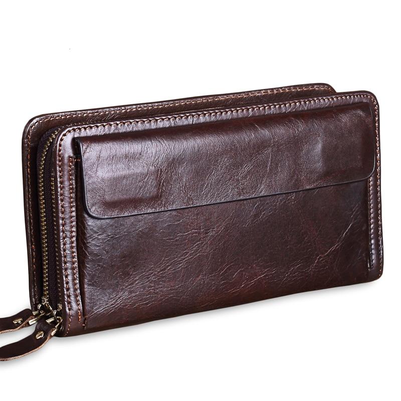 Men Brand Organizer Wallet Genuine Leather Double Zipper Clutch Bag Vintage Man Real Leather Long Purse High-capacity Handbag 50 curewe kerien brand men s genuine leather long zipper purse business wallet handbag