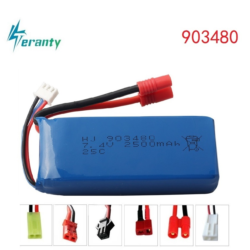 High Rate 7.4V Battery 2500mAh 903480 25C For Syma X8C X8W X8G RC Drone Spare Parts 2S Lipo Battery For 12428 12423 RC Car