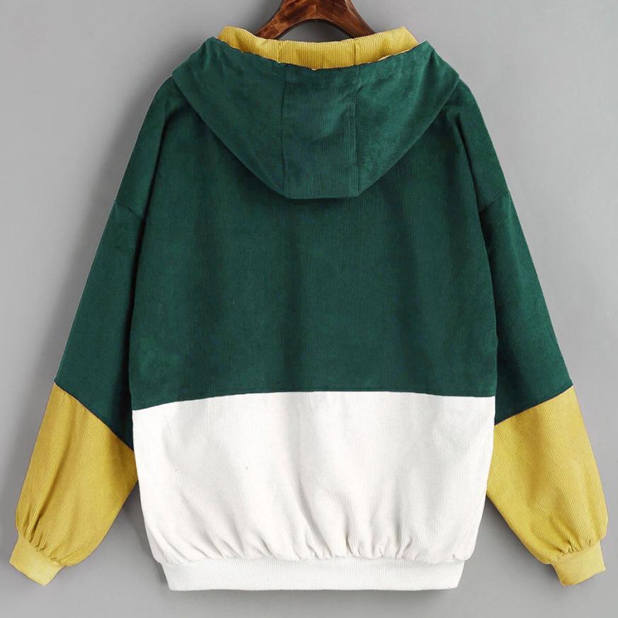HTB1symZmAUmBKNjSZFOq6yb2XXa5 Bella Philosophy Long Sleeve Corduroy Women jacket Spring women Jacket plus size women Zipper female coat color block Patchwork