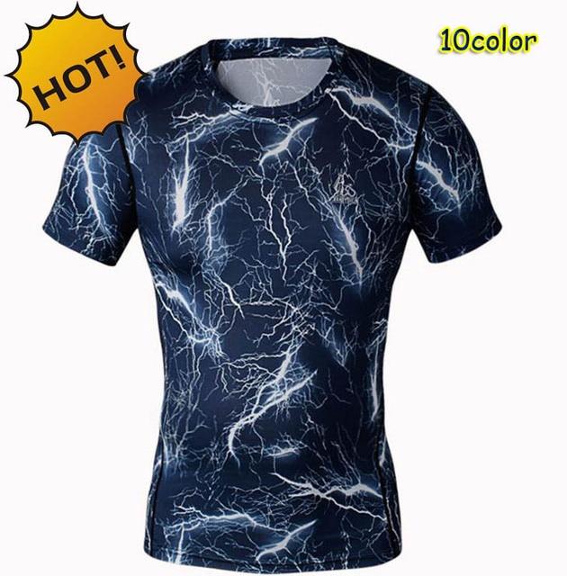 뜨거운 여름 압축 위장 꽉 티 스키니 피트니스 기본 레이어 T 셔츠 짧은 소매 크로스 핏 남성 T 셔츠 10 컬러