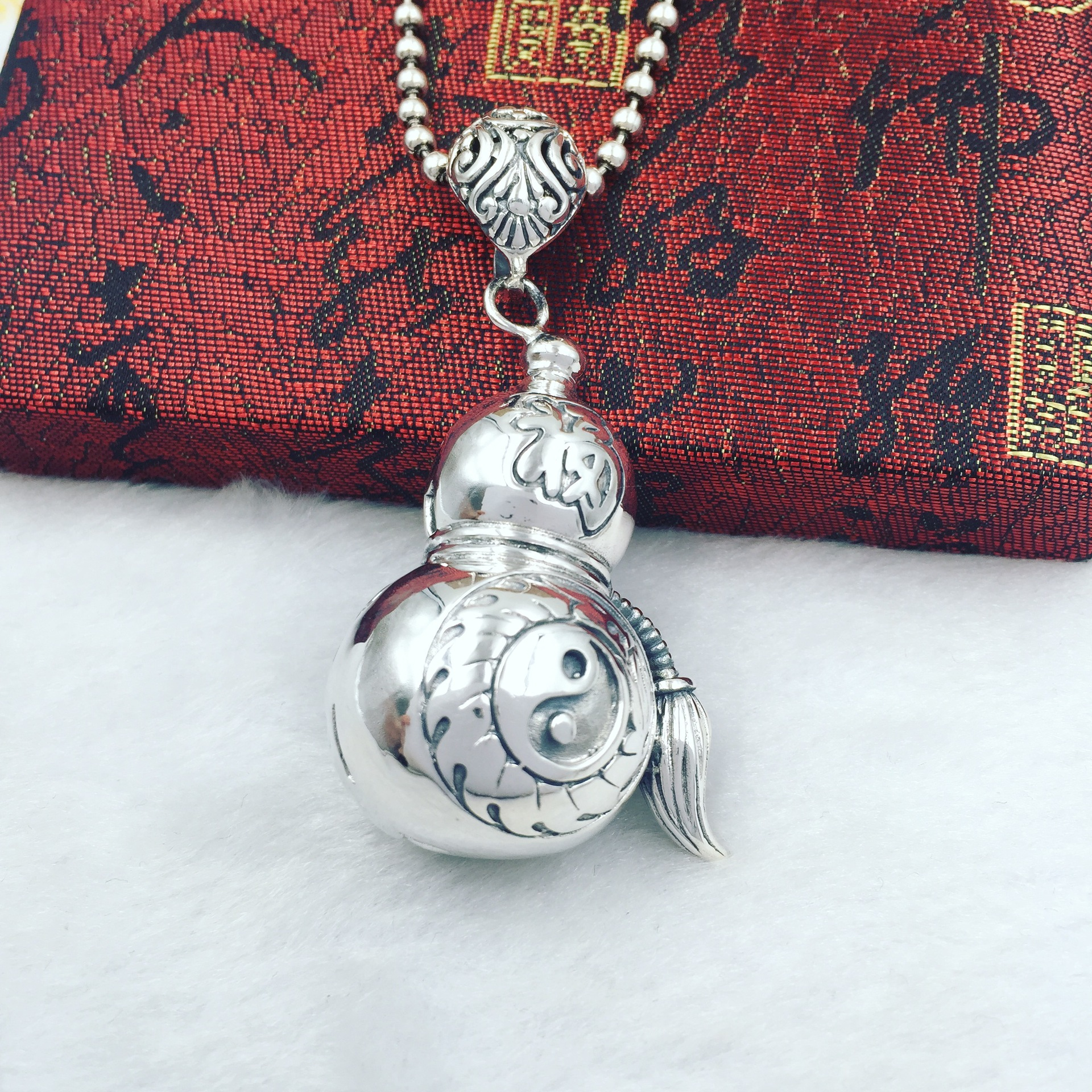 S925 pure silver intime Taoism Lao Bagua Silver Pendant pendant chain hoist sweater factory direct genuine s925 sterling silver pendant silver abacus activities auspicious clouds sweater chain pendant factory direct