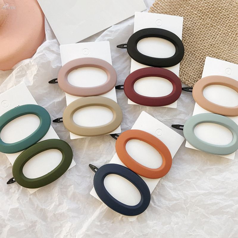 Korea Fashion Solid Color Scrub Resin Hair Clips Geometric Hollow Oval Wave Shape Hairpins Barrettes Hair Accessories For Women