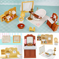 Mini Deluxe Bathroom Plastic Miniatures Furnitures Kits Set For DIY DollHouse Kids Toy Decor Doll Gift for Children