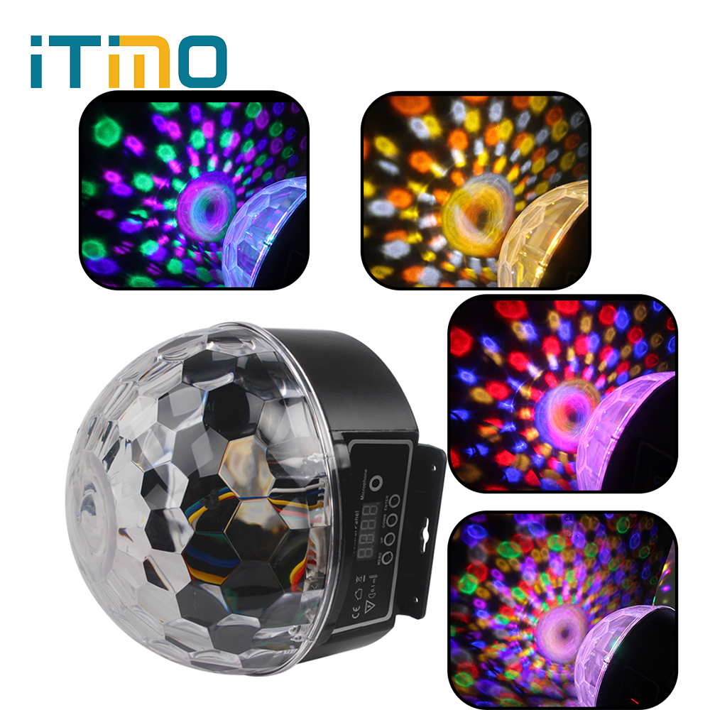 ITimo 9 Colors 27W Party Disco DJ Bar Bulb Lighting Show Stage Lighting Effect US EU Plug LED Crystal Magic Ball Projector Light women ladies flats vintage pu leather loafers pointed toe silver metal design