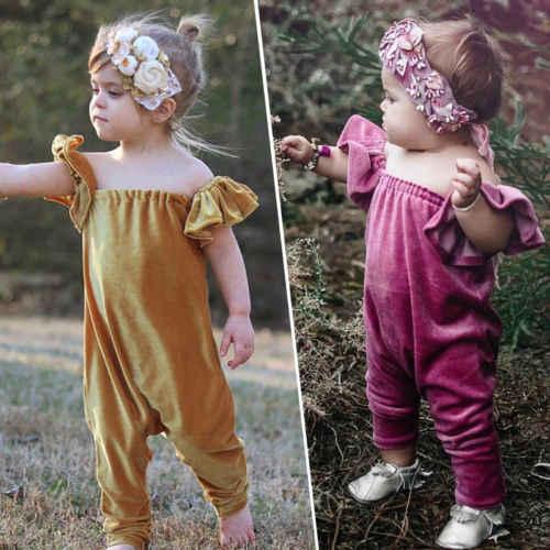 2018 nuevo estilo niños verano terciopelo mamelucos bebé niña volante sin mangas fuera del hombro rosa y marrón mameluco mono ropa