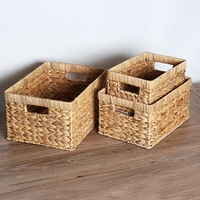 Natural Straw Rectangular Desktop storage basket Wire Handles Decor Seagrass Woven Wicker Basket Organizing Shelves mx01171052