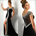 Formal Evening Dress 2017 With Mermaid Scoop Crystal Sexy Front Split See Through Vestidos De Noche Long Party Gown