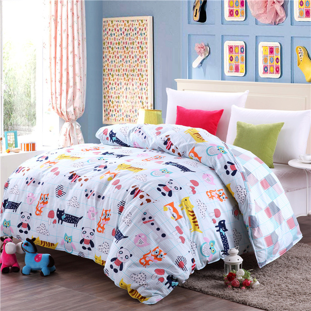 Home Textiles Small Animal Cartoon Pattern 100 Cotton Bedding Single Quilt Cover Duvet