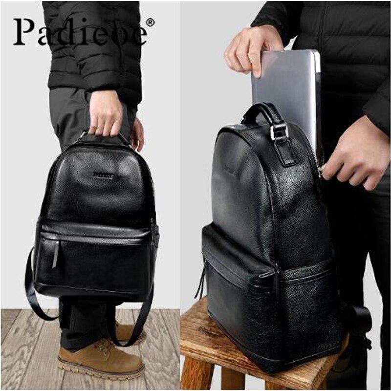 Padieoe роскошный мужской рюкзак из натуральной коровьей кожи, прочный кожаный большой рюкзак, модные однотонные черные мужские школьные рюкз... - 6