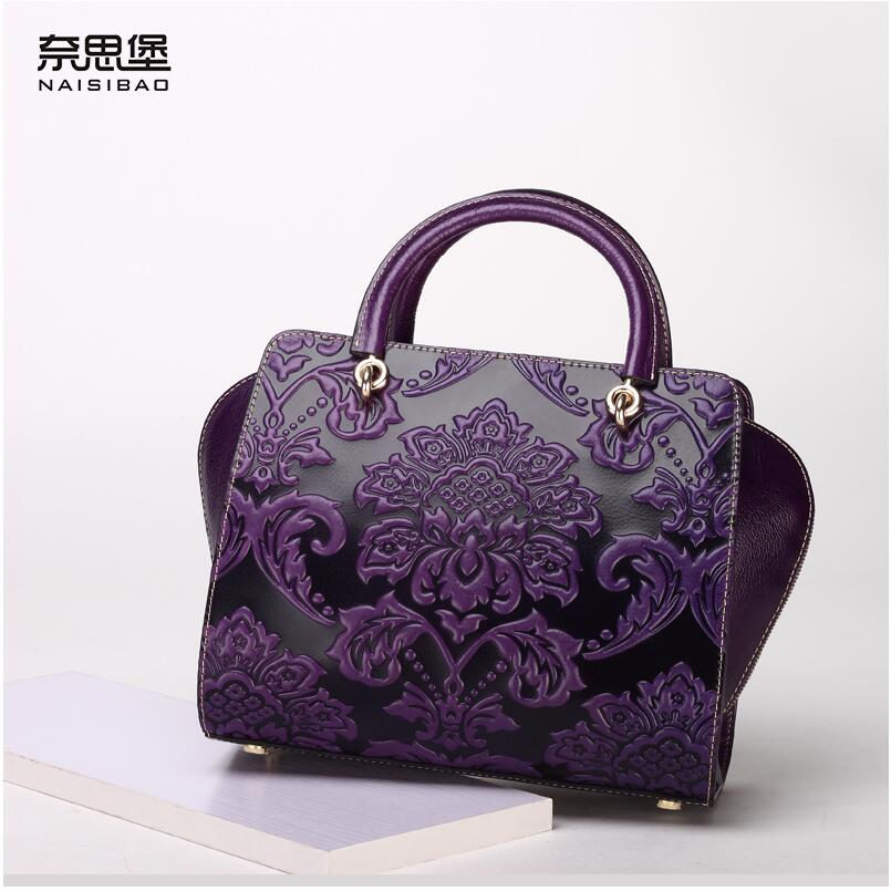 2016 New chinese style genuine leather women bag fashion embossing quality women leather handbags shoulder messenger cowhide bag