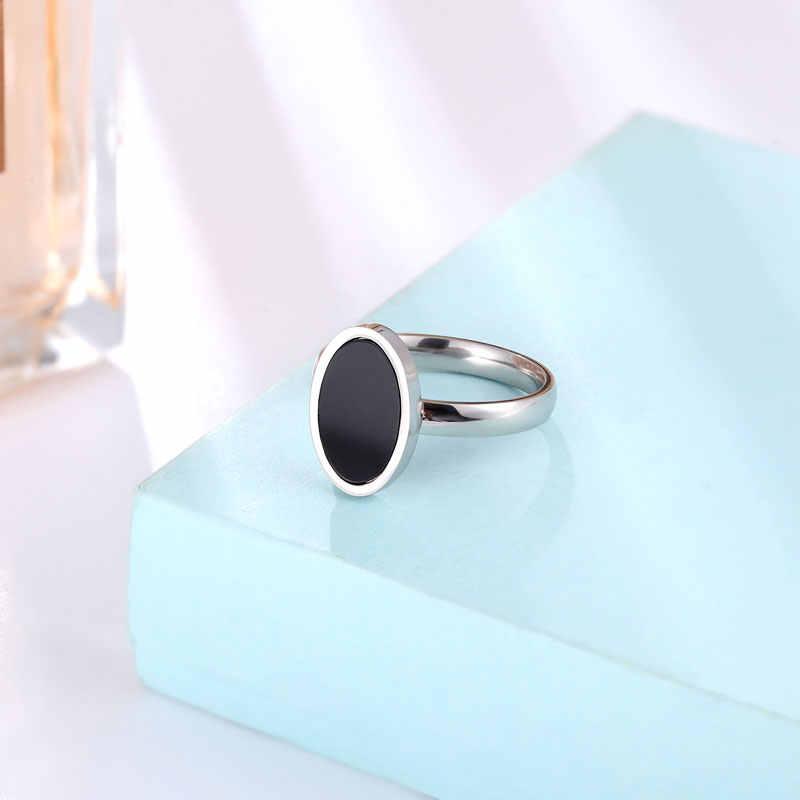 ใหม่มาถึงสีดำรูปไข่เคลือบแหวนผู้หญิงสแตนเลสสตีลเครื่องประดับสำหรับผู้หญิง PARTY แหวนขายส่ง