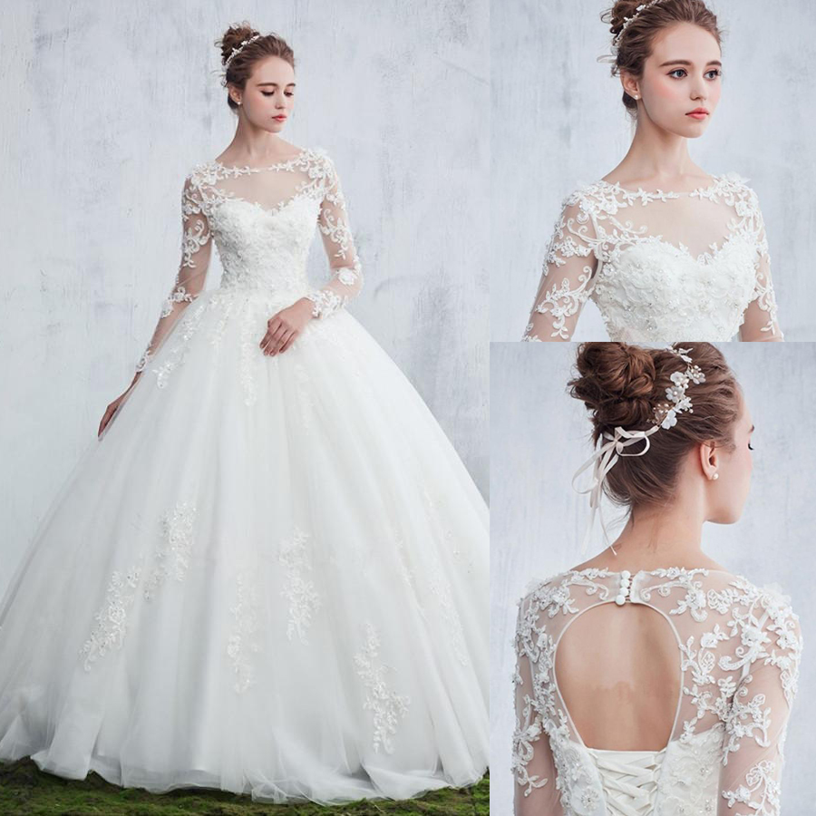 Vintage Ball Gown Princess Wedding Dress With Beading Lace Applique O-neck Long Sleeve Lace-up Sweep Train Bridal Dress