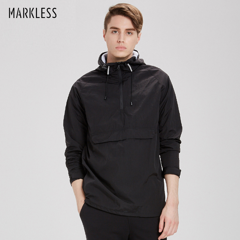 Markless Pullover Hooded Jackets Men Slim Casual Black Waterproof Windproof Jackets Coats Male Sportswear casaco masculino 7152