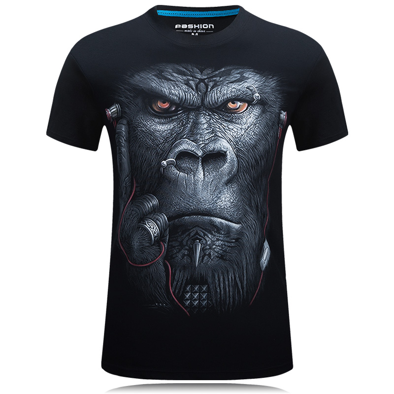 2018 Mens Fashion 3D Printed   T     Shirt   Homme Novelty Design Animal Tops Brand clothes Casual Short Sleeve O-neck   T  -  shirt   Male Tees