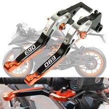 CNC Aluminum Motorbike Levers Motorcycle Brake Clutch Levers Foldable Extendable Adjustable For KTM 690 Duke SMC Enduro R SMC-R цена и фото