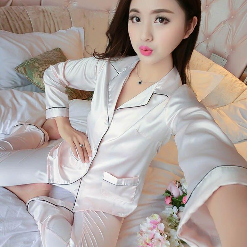 Faux Silk Pijama Feminino Primark Pajamas Pijamas Mujer Night Suit Sleepwear Pyjamas Women Pajamas Pigiama Donna