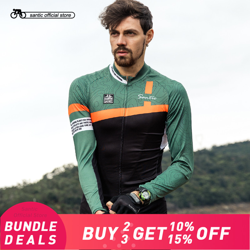 Santic Men Long Sleeve Cycling Jerseys Pro Fit Road Bike MTB Top Jersey Spring Summer Breathable