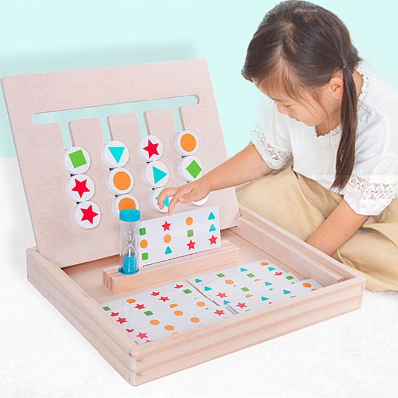 Montessori Education Wooden Toys Four Color Matching Game Early Children Kids Preschool Training Learning Building Blocks MAR-20