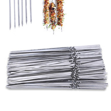 лучшая цена 50PCS Stainless Steel BBQ Stick For Reusable Barbecue Grilled Skewers Pierce Meat Tools Outdoor Camping Picnic Barbeque Tool