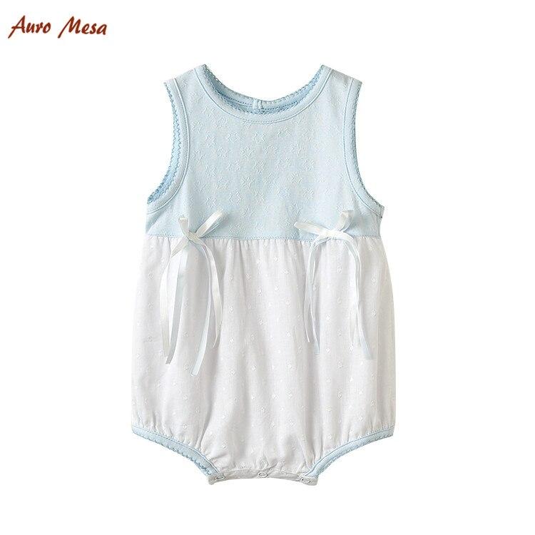 2016 Summer Baby Girl Bodysuit Sleeveless Shortie Soft Infant Girls Onesie Jumpsuit