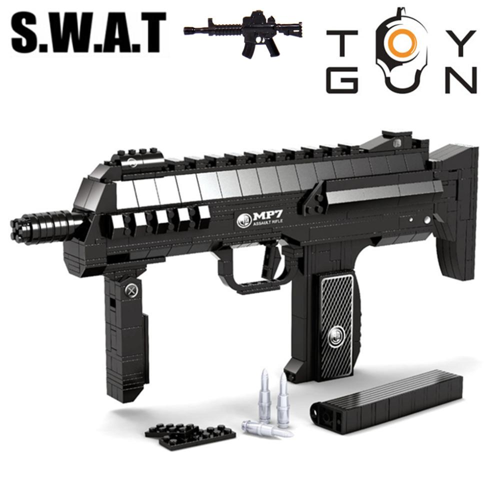 AUSINI 50MP7 Submachine Assault GUN Weapon SWAT Arms Model 3D DIY Building Blocks Bricks Children kIDS Toy Gift