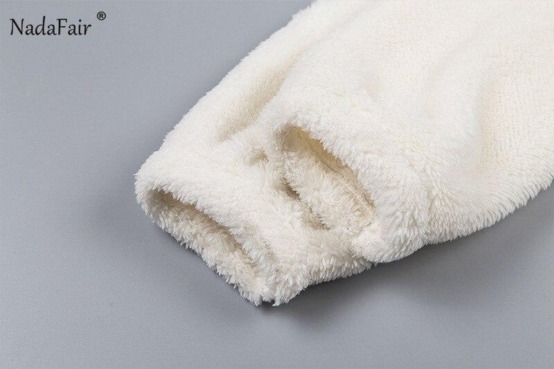 Nadafair Long Sleeve White Cropped Hoodie Women Autumn Winter Pullover Short Sweatshirt Plush Zipper Faux Fur Fluffly Sweatshirt 16