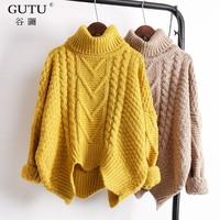 GUTU Autumn Spring 2018 Solid Color Hot Sale Turtleneck Long Sleeve Knitting Pullover Keep Warm