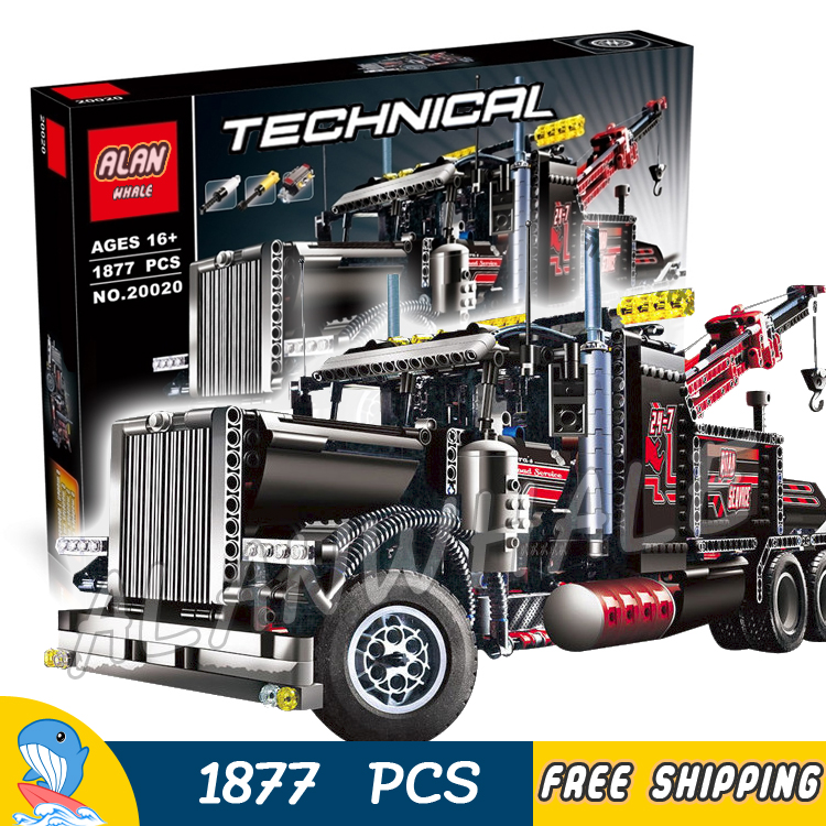 1877pcs Techinic 2in1 Tow Truck 20020 DIY Model Building Kit Blocks Gifts Transport Car Carrier Loader Toys Compatible With lego 1401pcs 2in1 techinic motorized crawler
