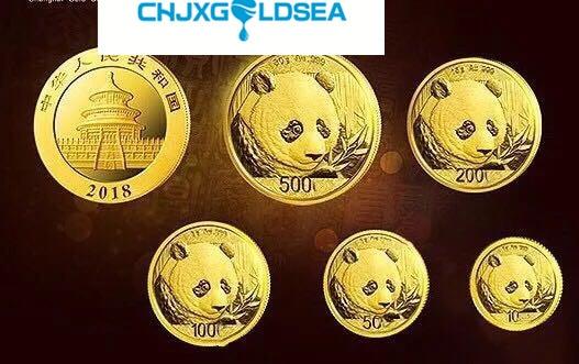 5 pièces 2018 chinois lunaire nouvel an panda plaque or costume 5 or Panda pièce avec boîte et certificat cadeau artisanat copie