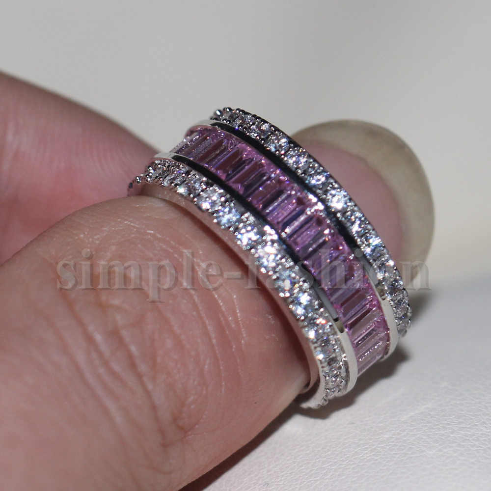 Moda biżuteria kobiety zaręczyny pierścień księżniczka cut 15ct 5A cyrkon kamień różowy Cz 925 srebro kobiet Wedding Band pierścień