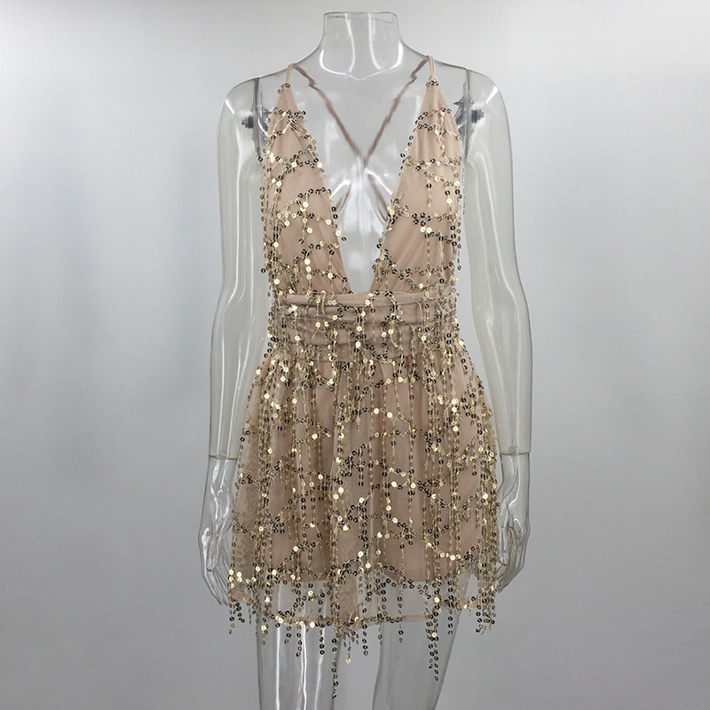 Women Backless Dress 2018 Summer Sleeveless Straps Party Hippie Dresses Tassel Sequins Backless Sexy Dresses Beach Short Dress