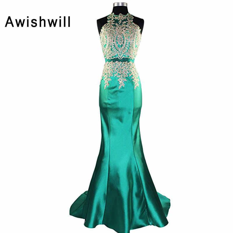 874501f9cd0 Сексуальная Русалка длинное вечернее платье без рукавов Бисер золото  Кружево атлас открытой спиной Вечерние платье для